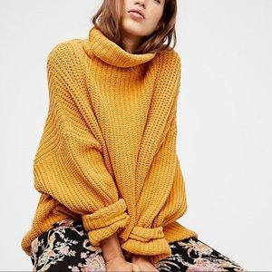 Free People Oversized Mustard Turtleneck Sweater
